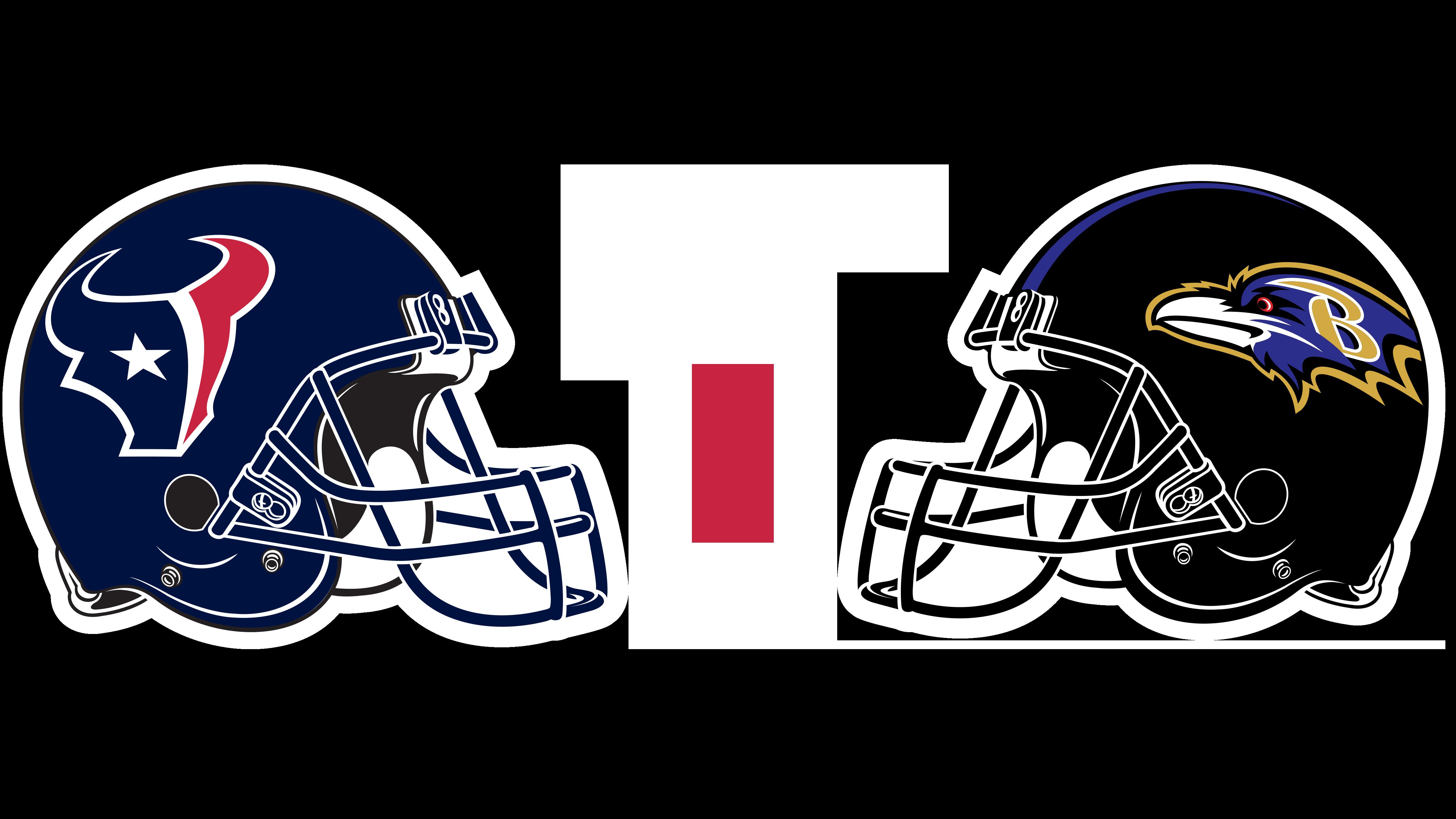 Houston Texans helmet and Baltimore Ravens helmet