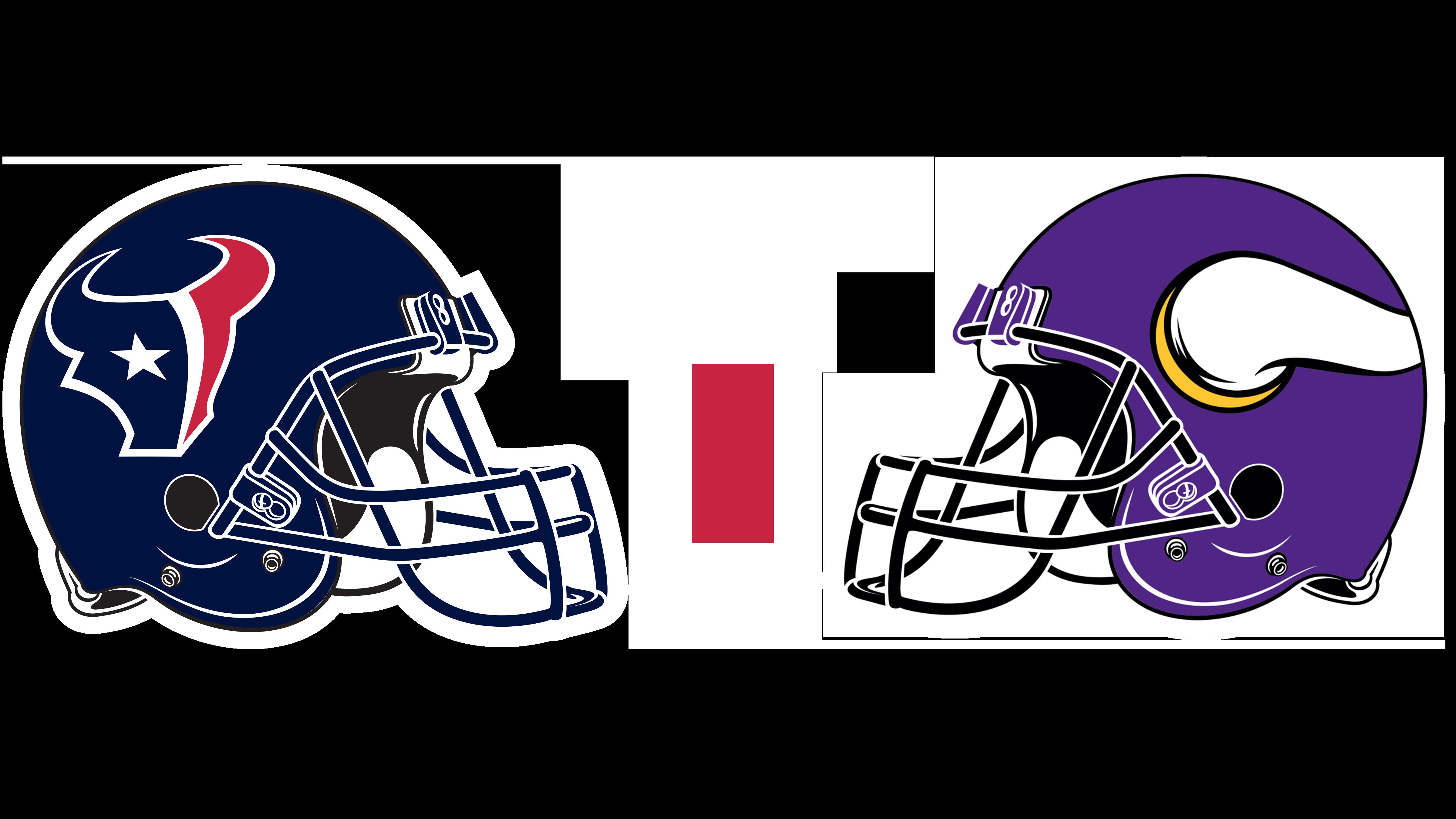 Houston Texans helmet and Minnesota Vikings helmet