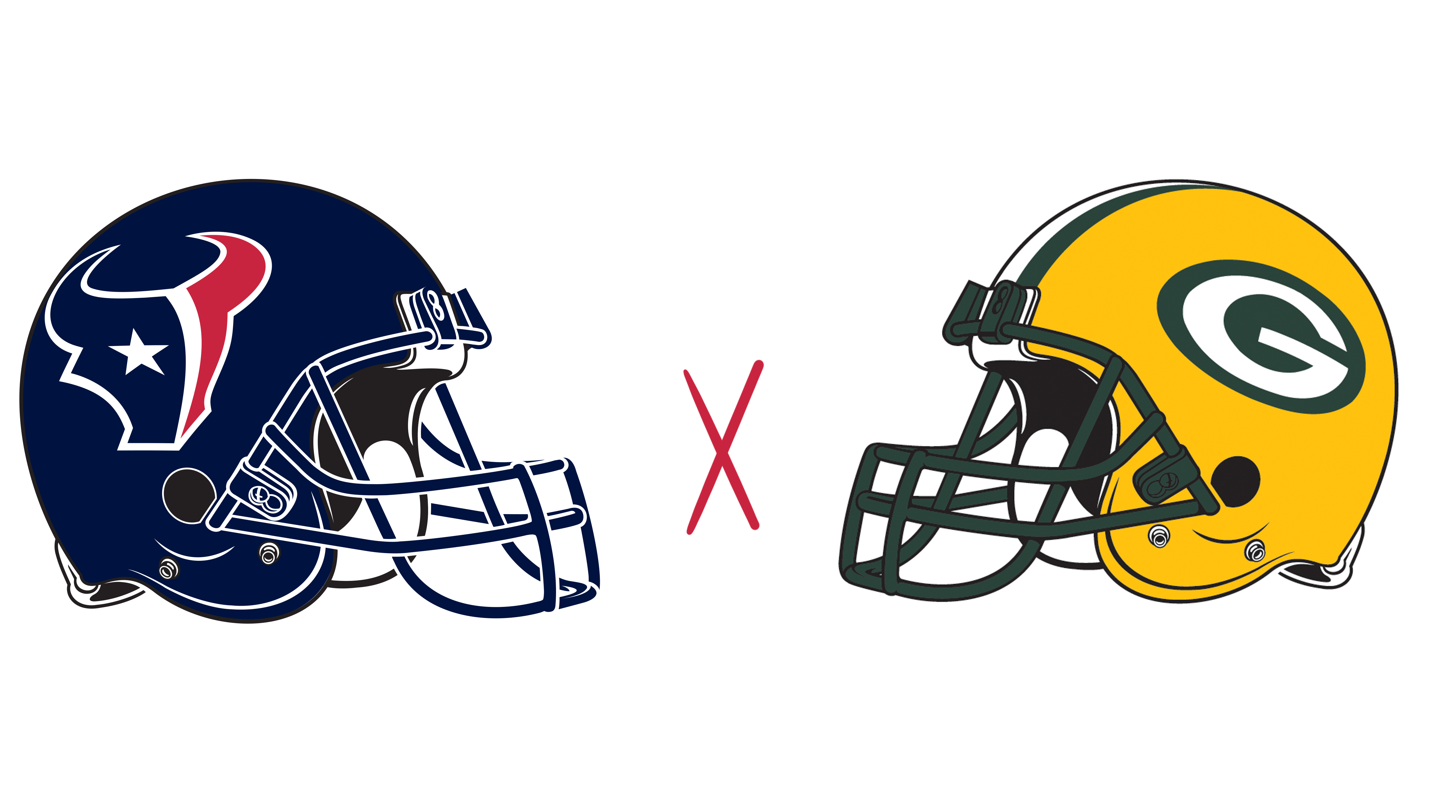 Houston Texans helmet and Green Bay Packers helmet