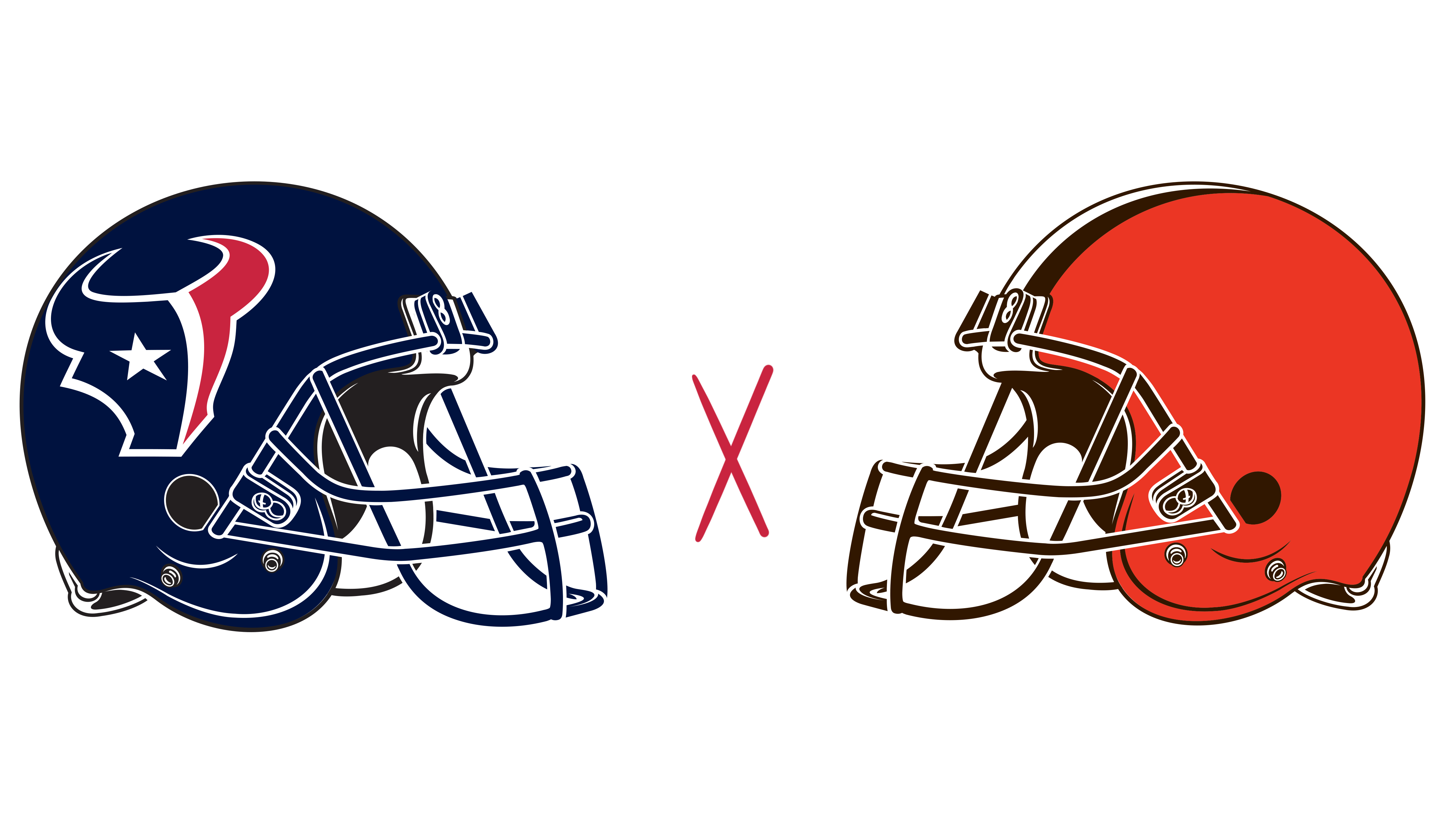 Houston Texans helmet and Cleveland Browns helmet