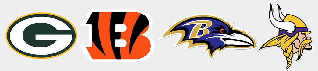 Packers. Bengals. Ravens. Vikings.
