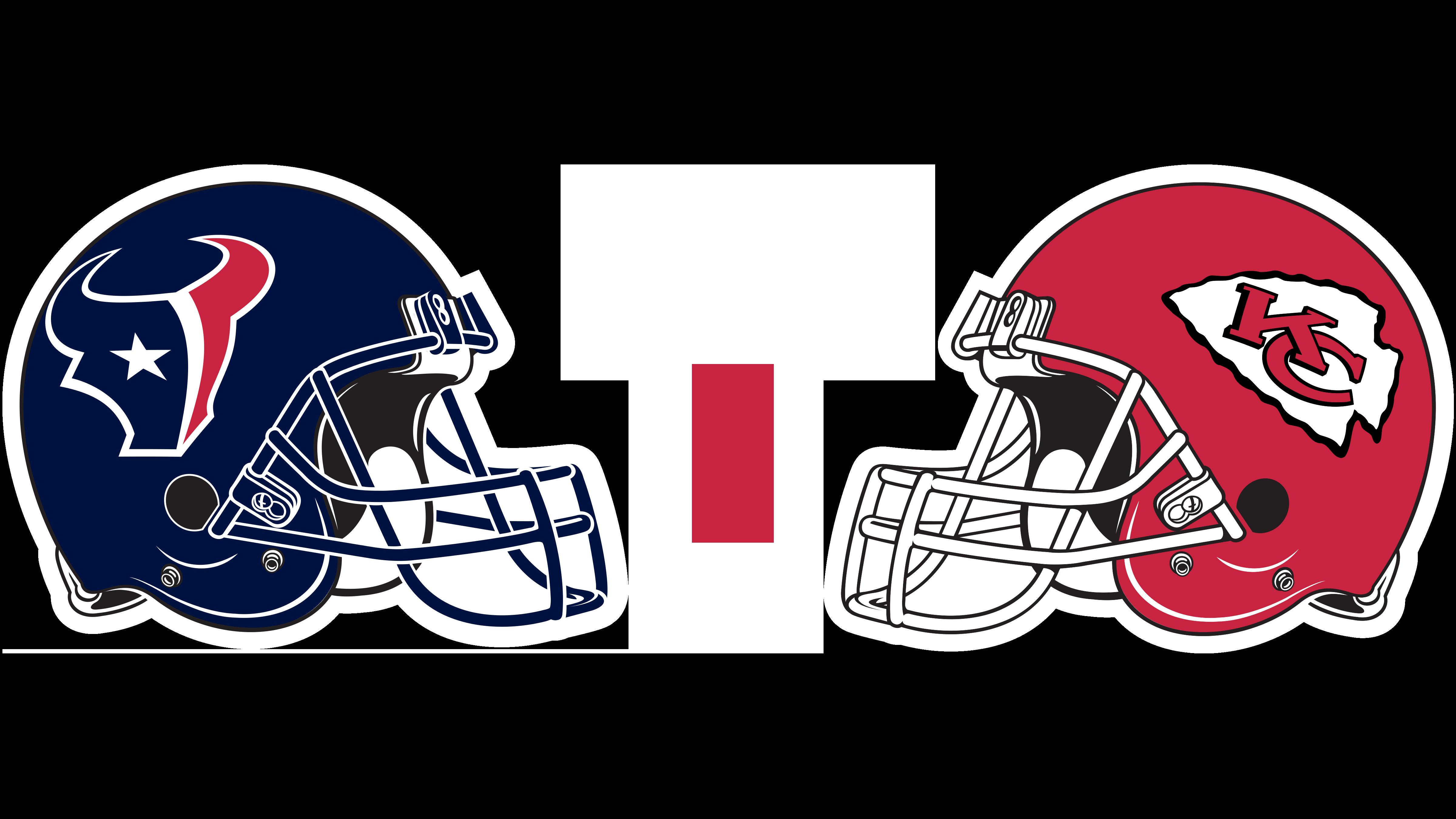 Houston Texans helmet and Kansas City Chiefs helmet