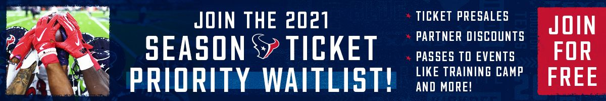 Join the 2021 Season Ticket Priority Waitlist. Join for Free.