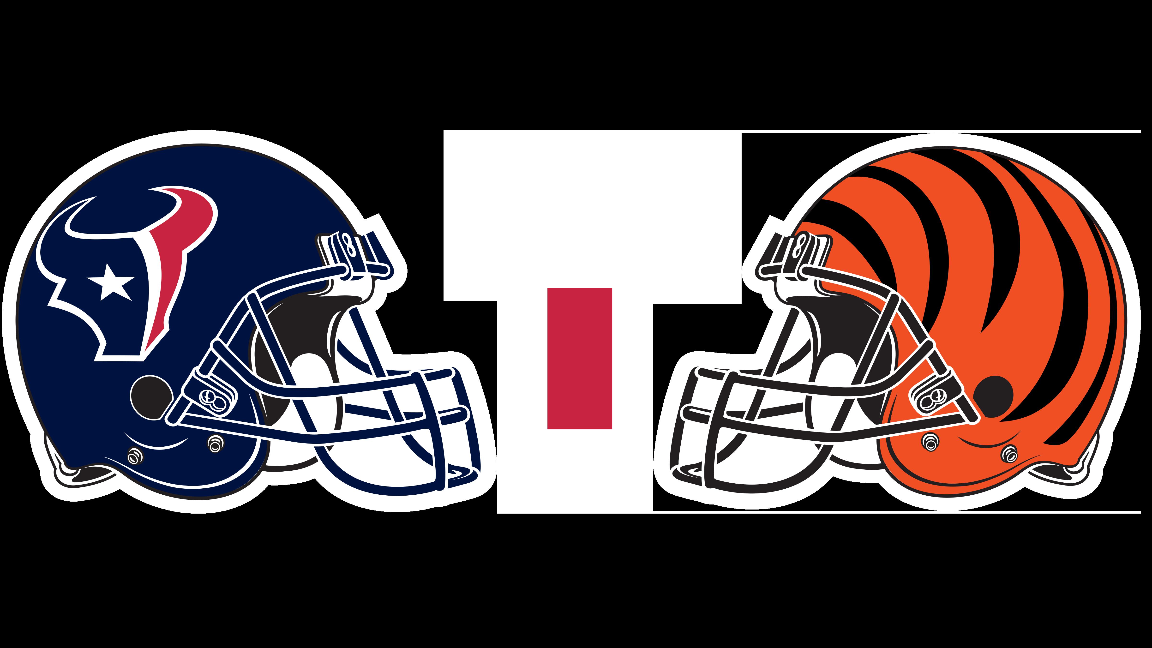 Houston Texans helmet and Cincinnati Bengals helmet