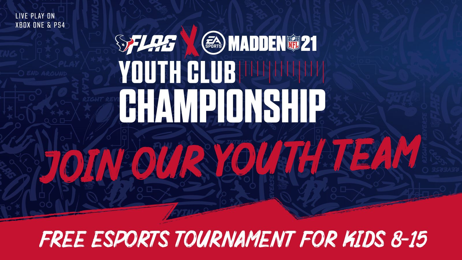 Flag and Madden Youth Club Championship. Join our Youth Team. Free Esports Tournament for Kids 8-15