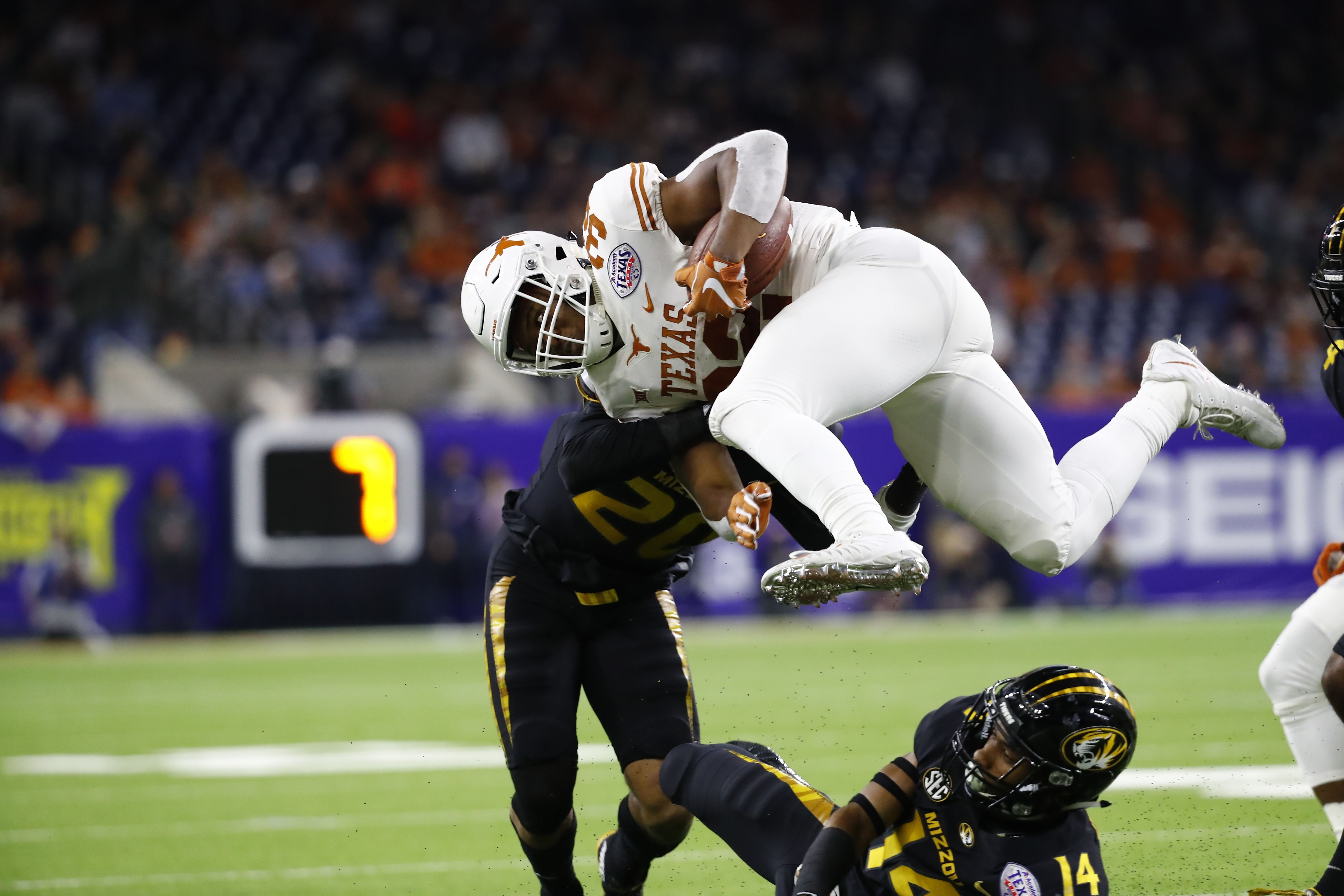 An image from the Dec. 27, 2017 Texas Bowl between the University of Texas and the University of Missouri.