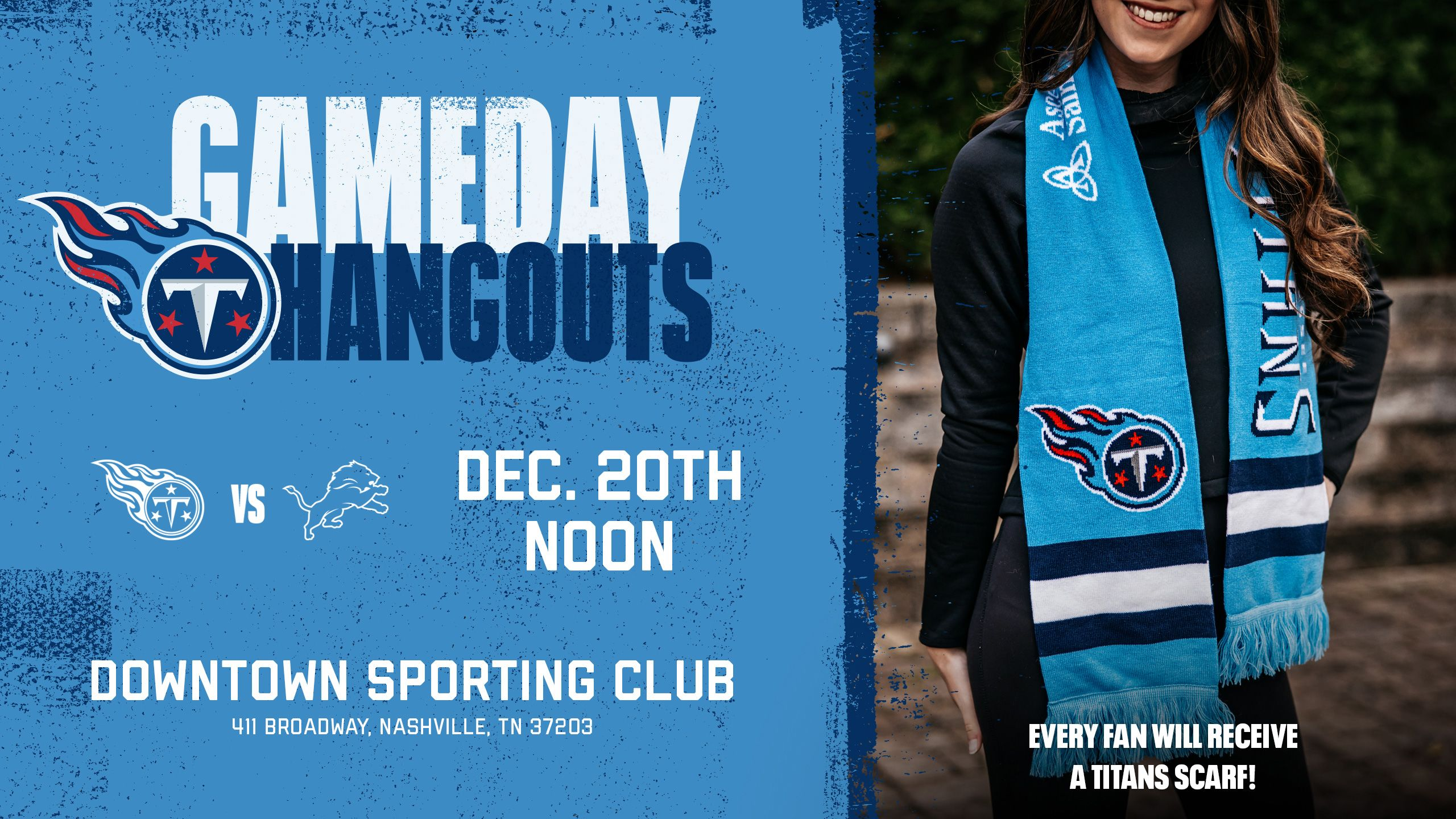 Featured Gameday Hangout for Titans vs. Lions - Sunday, Dec. 20th