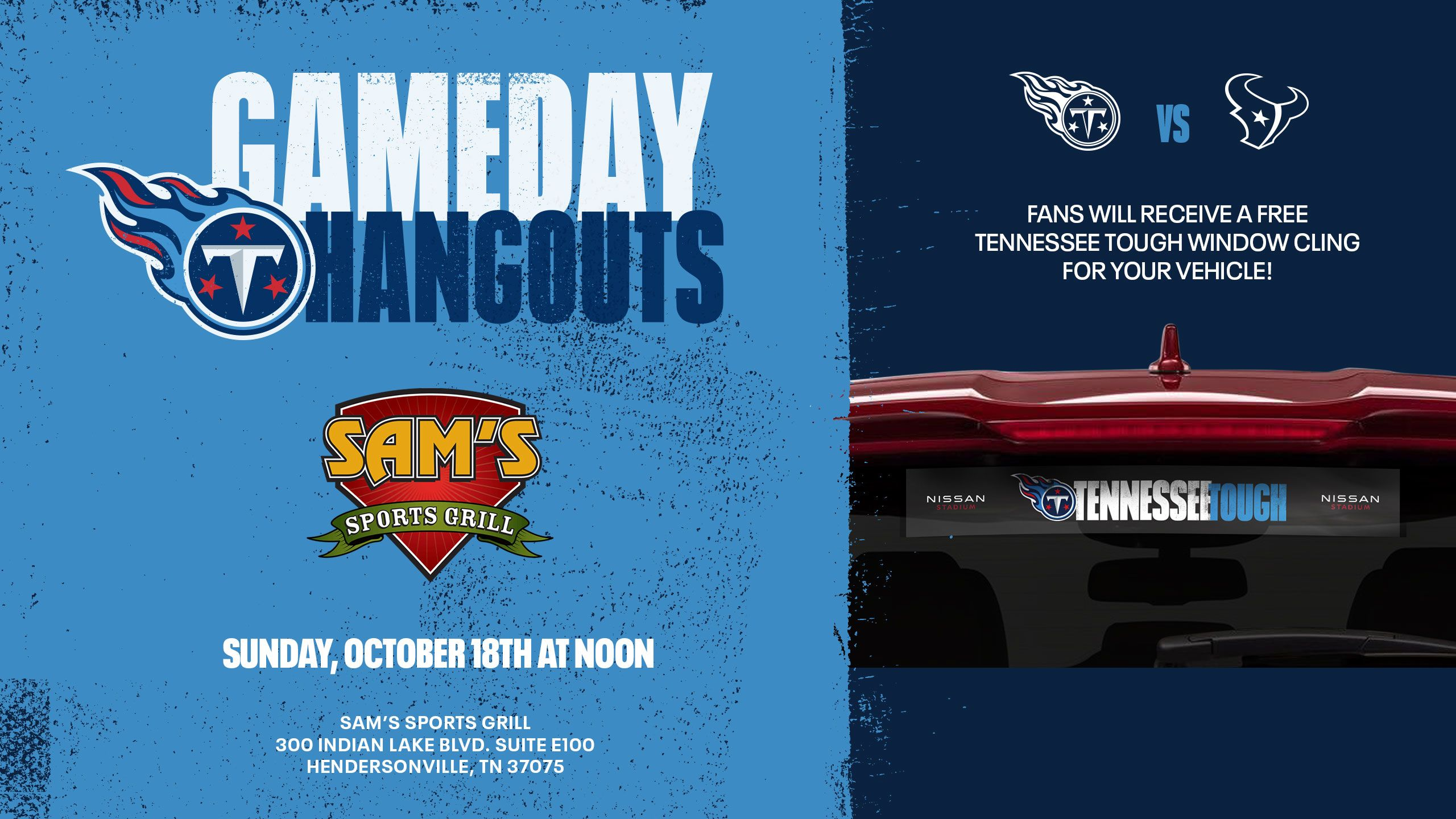 Featured Gameday Hangout for Titans vs Texans - Sunday, Oct. 18
