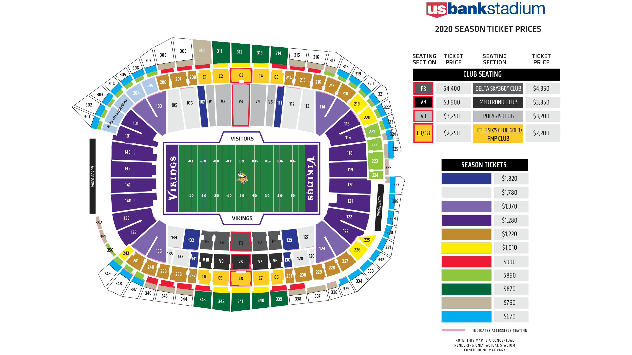 Map Of Us Bank Arena U.S. Bank Stadium Seating Chart and Map | Minnesota Vikings
