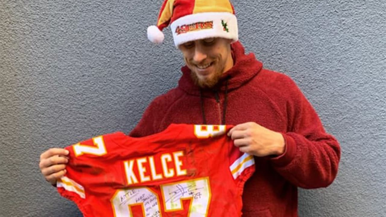 buy online 8dfc2 e4b6e Travis Kelce Gave George Kittle a One-of-a-kind Christmas ...