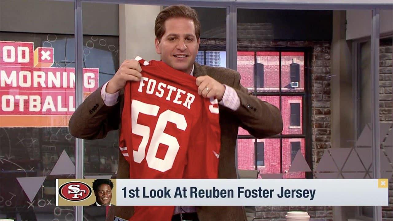 innovative design 4bcea 07e33 A First Look at Reuben Foster's 49ers Jersey