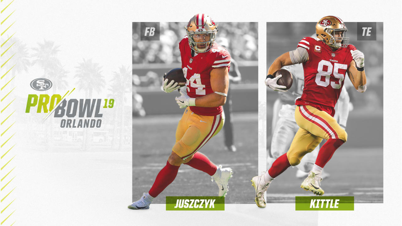 004b3e3af 49ers FB Kyle Juszczyk, TE George Kittle Selected to 2018 Pro Bowl