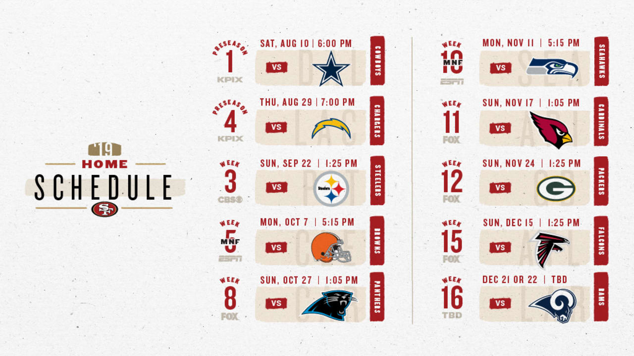 49ers Home Schedule 2020.49ers Live Update Breaking Down The 2019 Schedule