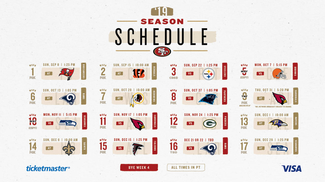 graphic relating to Nfl Week 13 Printable Schedule identified as Video game-as a result of-recreation Notes for the 49ers 2019 Every month Time Routine