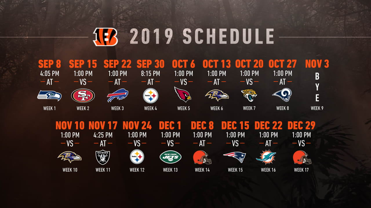 13d243f8 Bengals' 2019 Schedule Announced; Single-Game Tickets On Sale Now