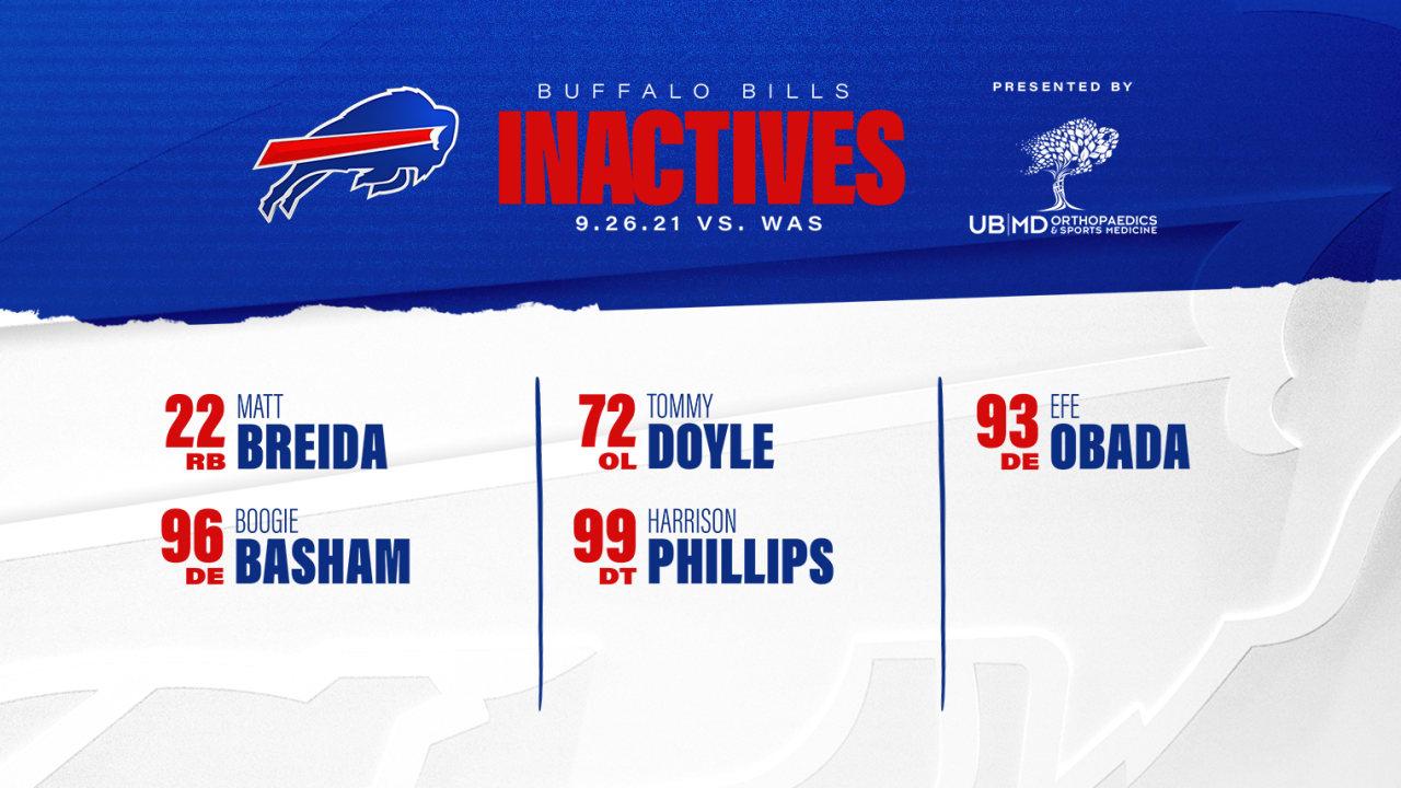 Matt Breida, Efe Obada headline Buffalo's inactive list | Bills vs. WashingtonNewsBuffalo Bills