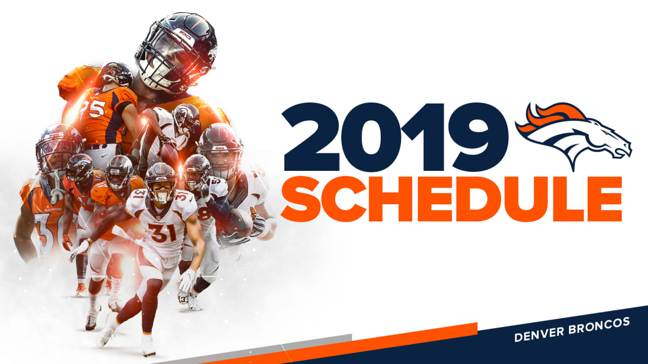 picture about Denver Broncos Schedule Printable named Broncos 2019 regular monthly-time timetable produced