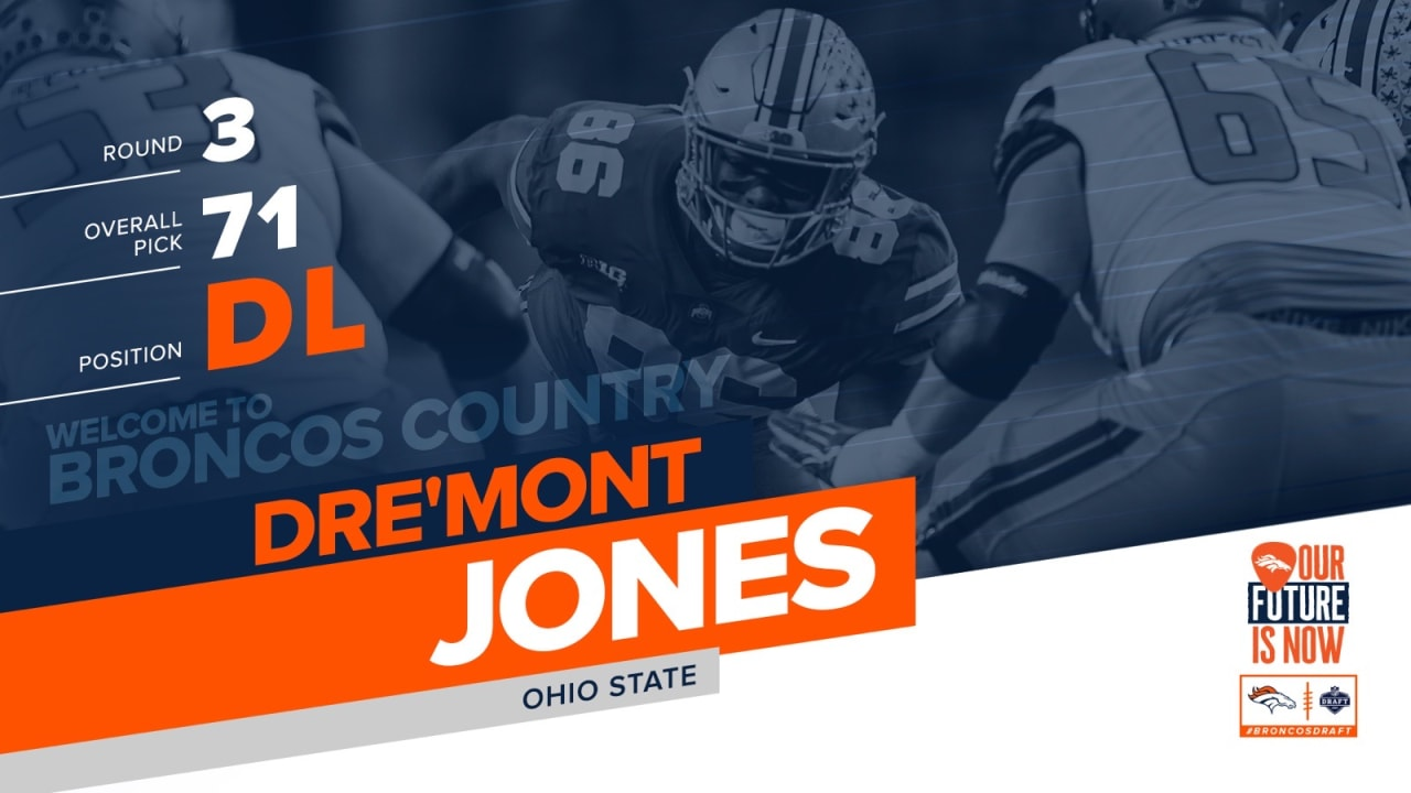 competitive price 59326 31fa7 Broncos select Ohio State DL Dre'Mont Jones in third round