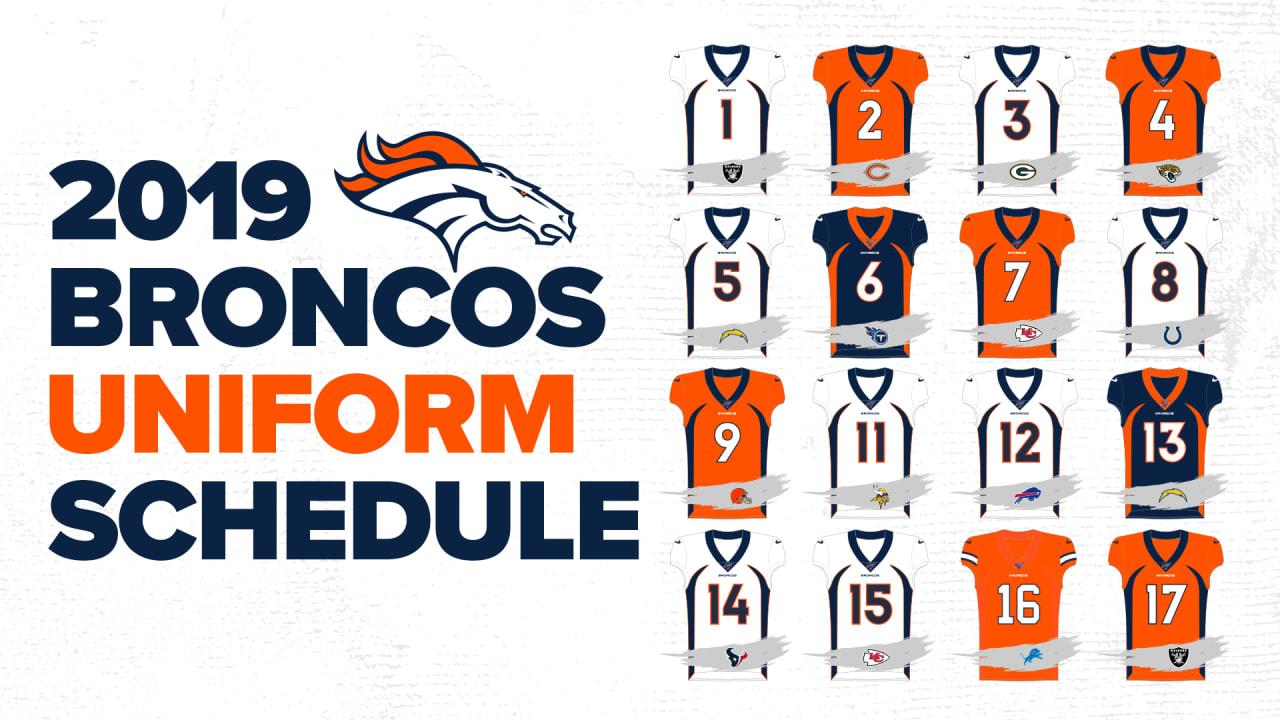 Denver Broncos Schedule 2020.Broncos To Wear Alternate Jerseys Three Times In 2019