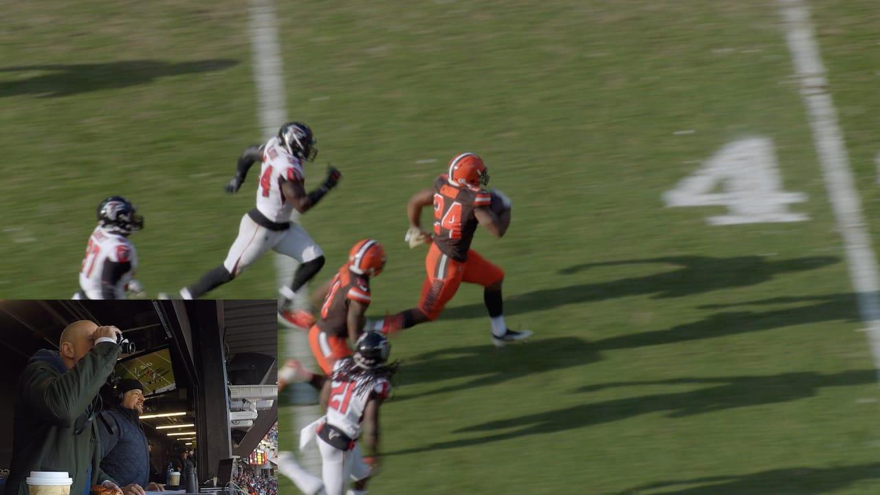 spanish radio calls nick chubbs 92 yard td run vs falcons