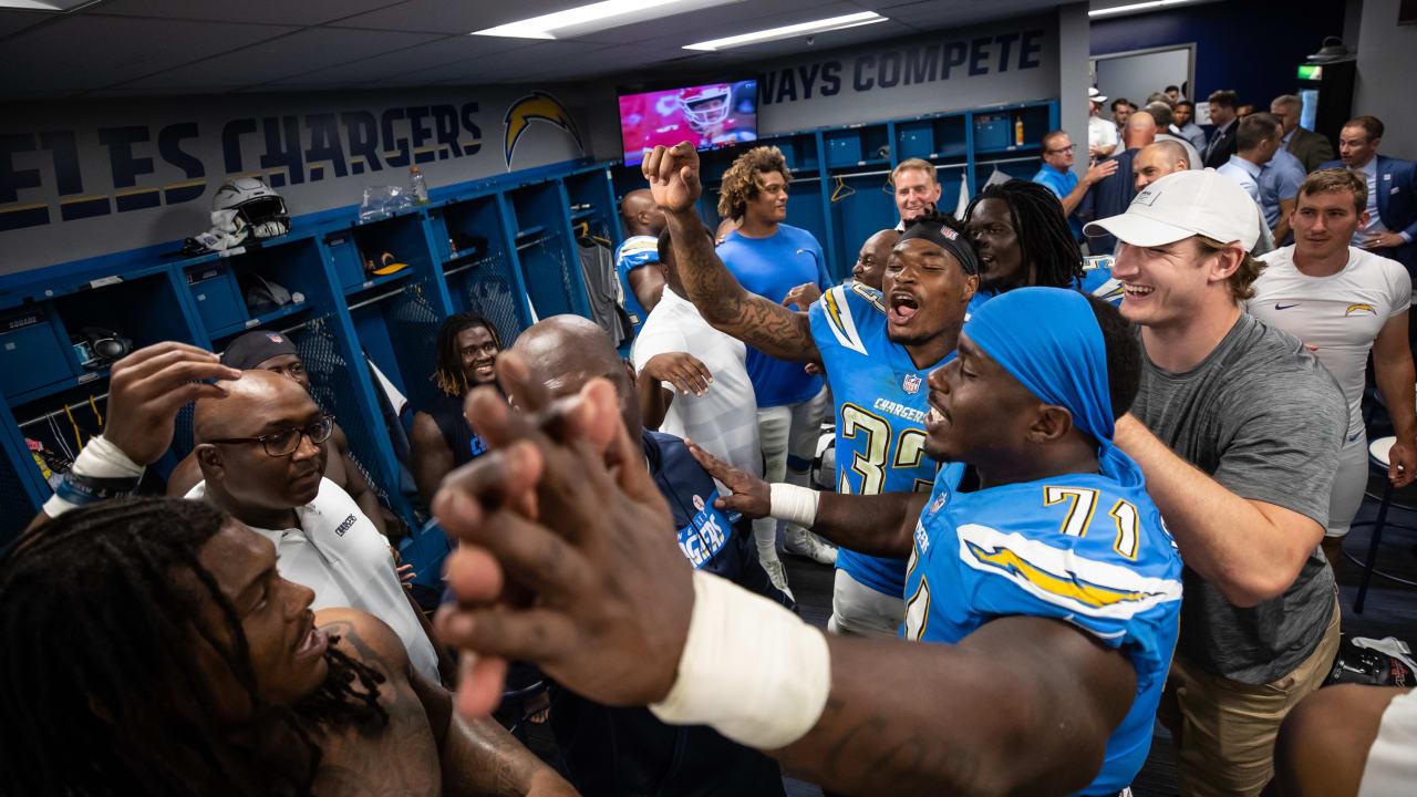 Postgame Locker Room Celebration Over Raiders