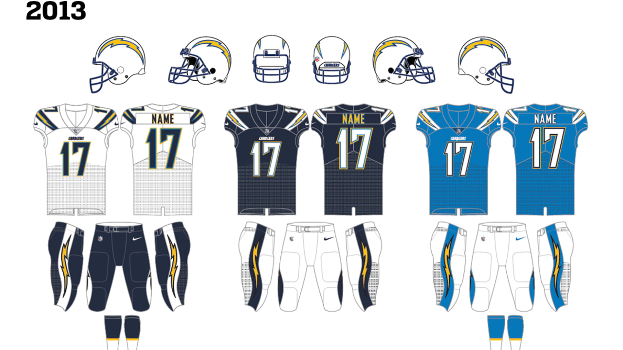 f0dcac0e Evolution of the Chargers Uniform