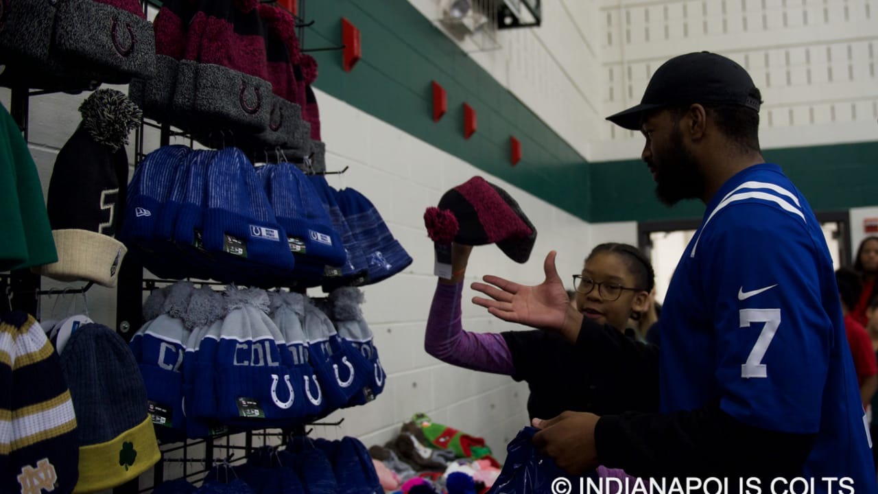 WATCH  Colts Players Donate Shoes and Hats to over 500 Students 1b1183a6d