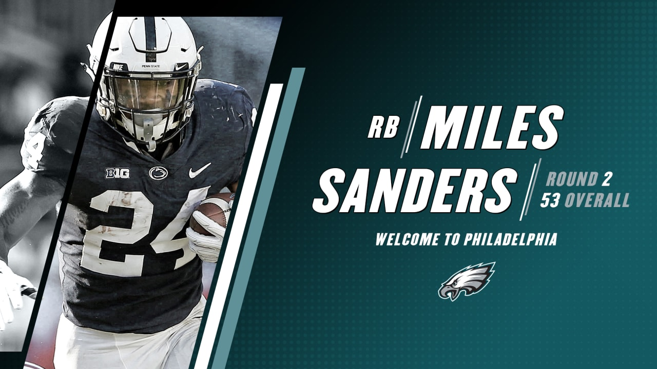 sale retailer 50db3 7d2bd Eagles select RB Miles Sanders in second round of 2019 NFL Draft