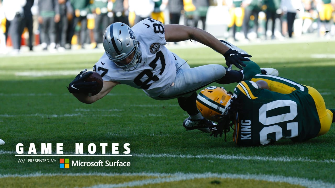 Game Notes: Oakland Raiders 24, Green Bay Packers 42