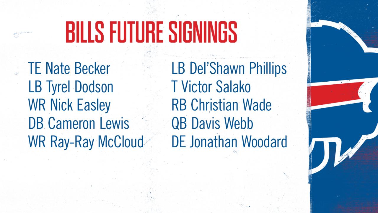 Bills sign 10 reserve/future free agents