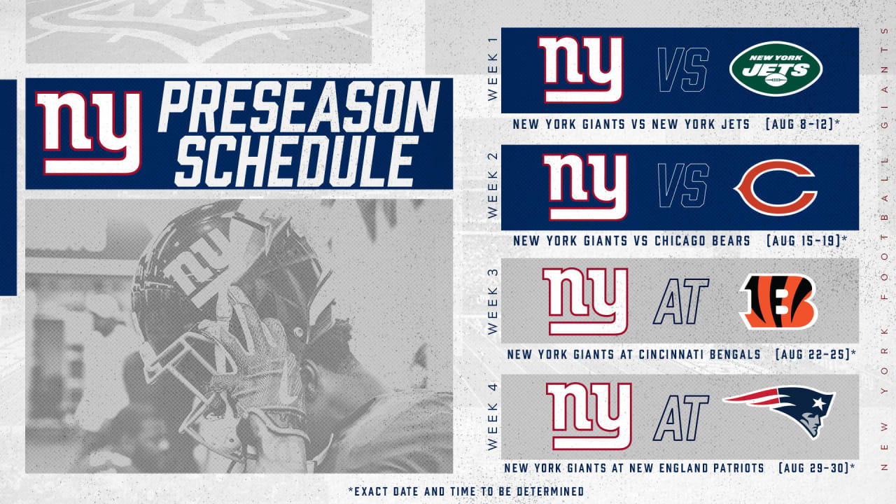 graphic regarding New England Patriots Printable Schedule referred to as Fresh York Giants 2019 preseason plan