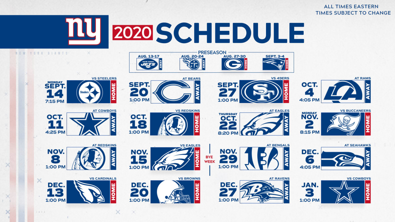 2020 New York Giants Schedule Complete Schedule And Match Up Information For 2020 Nfl Season