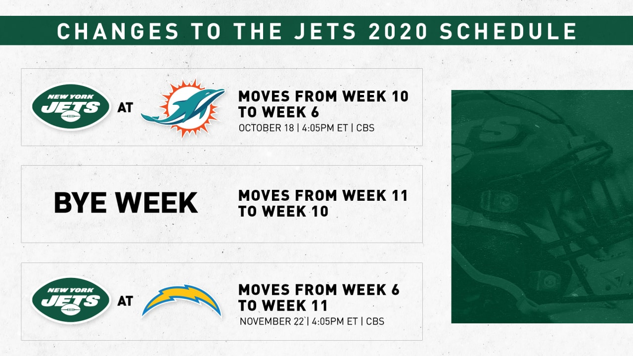 Nfl Makes Changes To Jets Schedule In Coming Weeks