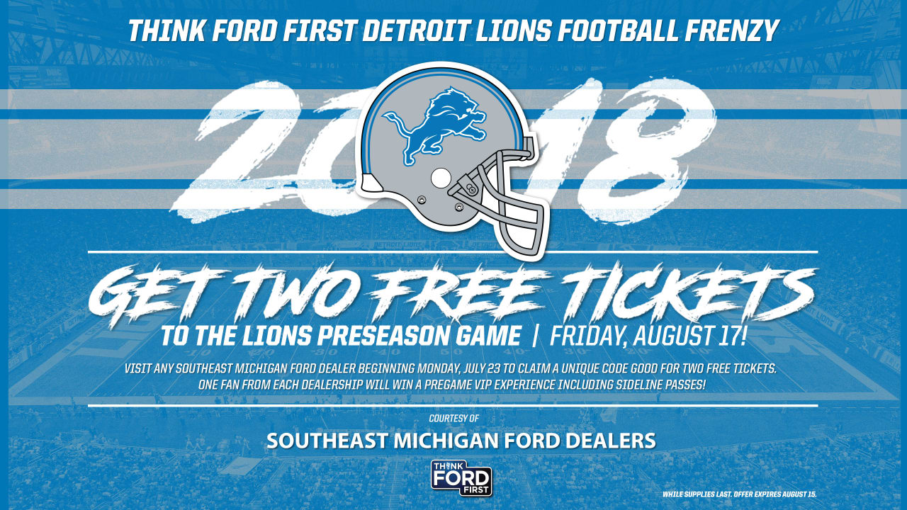 Nice Lions and Southeast Michigan Ford Dealers offer free preseason tickets  for cheap