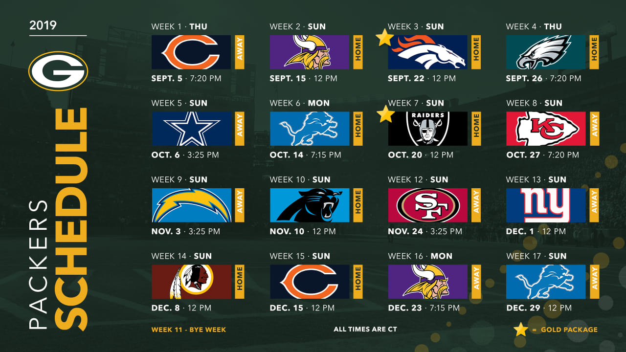 graphic about Nfl Week 7 Printable Schedules named Packers announce 2019 routine