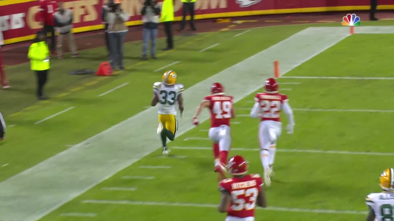 Packers Rb Aaron Jones Goes Down Sideline For 67 Yard Td Catch