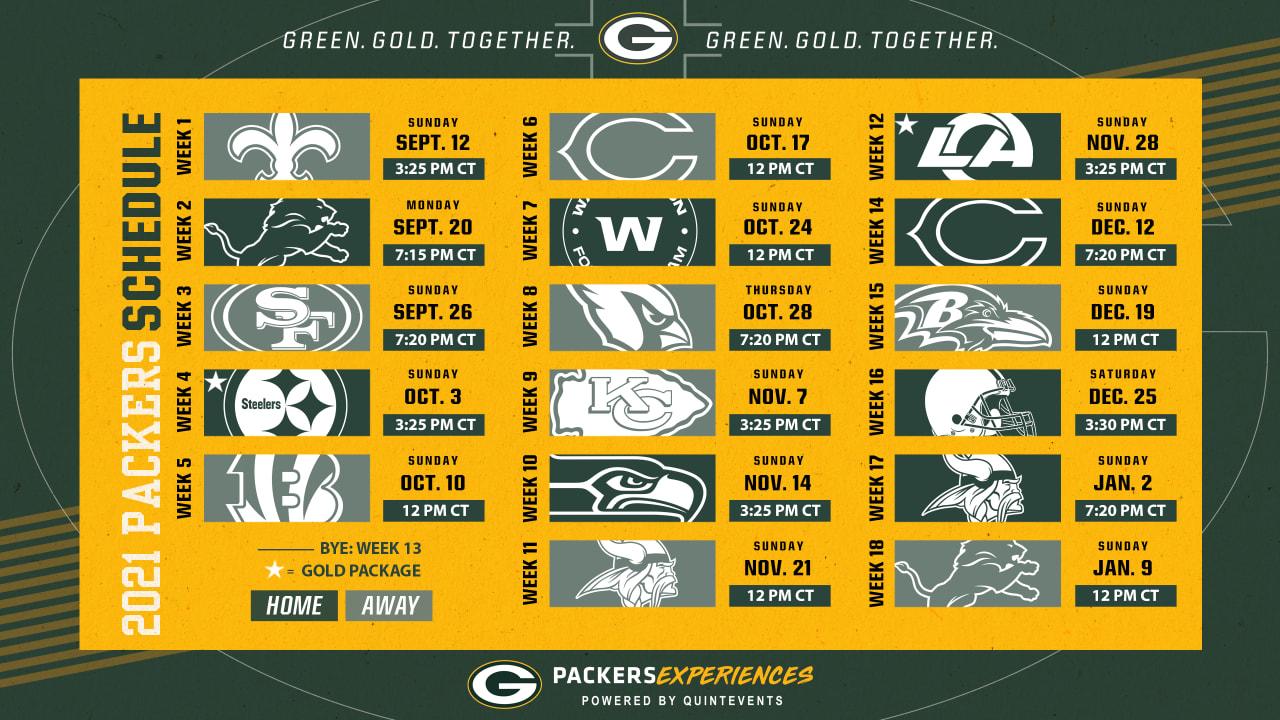 Five primetime games highlight Packers' 2021 season schedule