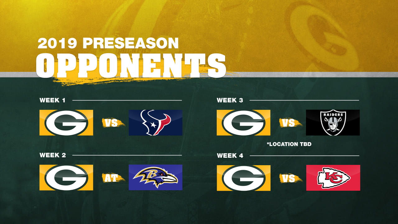 picture about Green Bay Packers Printable Schedule named Packers 2019 preseason competition introduced