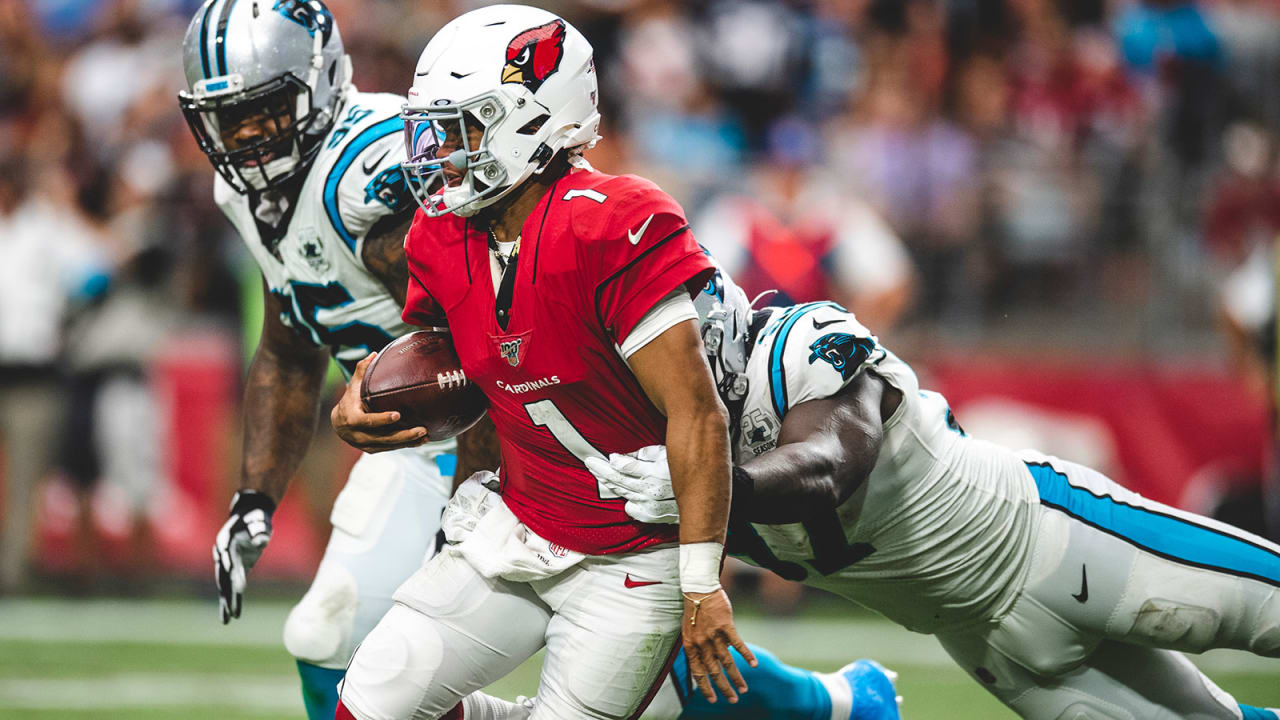 new arrival 371b6 cf048 Panthers' pass rush feasts on Cardinals' rookie Kyler Murray