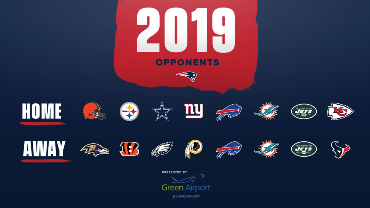 graphic relating to New England Patriots Printable Schedule identify Patriots 2019 rivals decided
