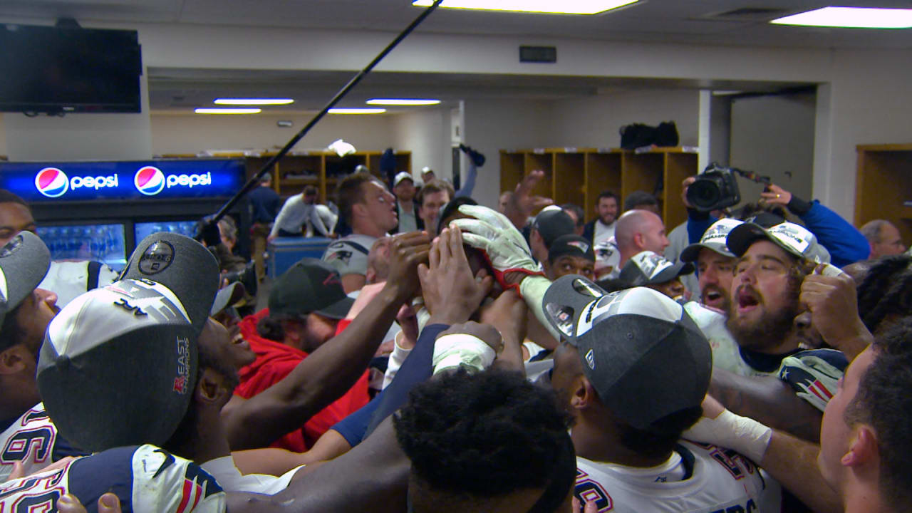 Patriots Locker Room Celebration following the win over the Steelers 66190919f