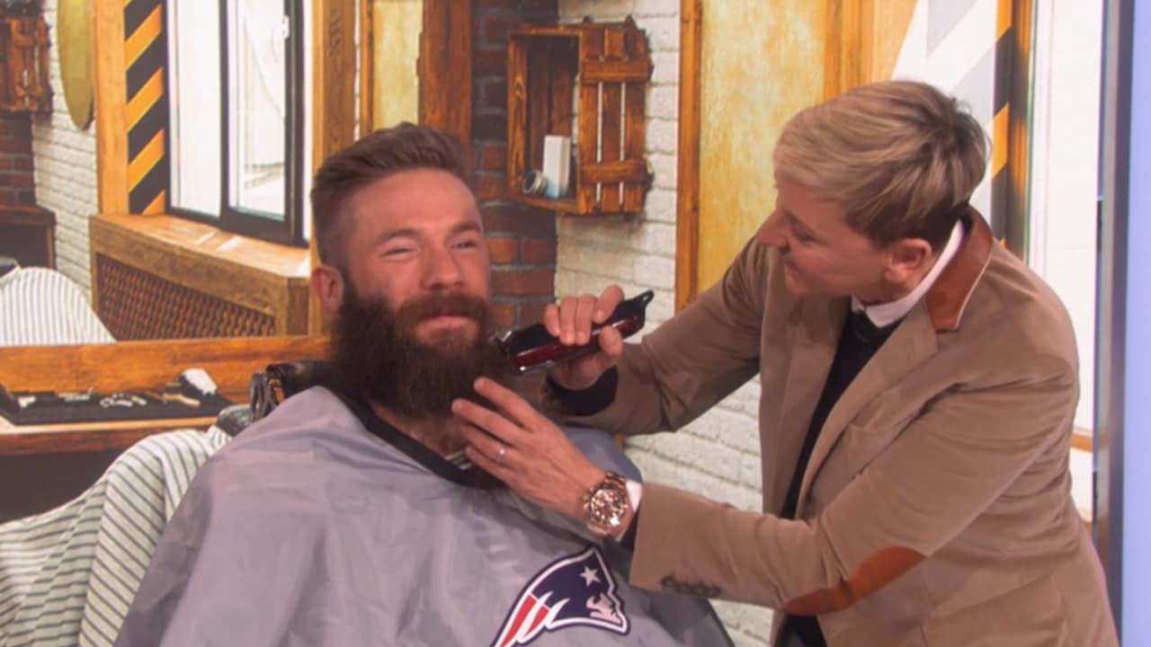 Julian Edelman Shaves His Epic Playoff Beard On Ellen