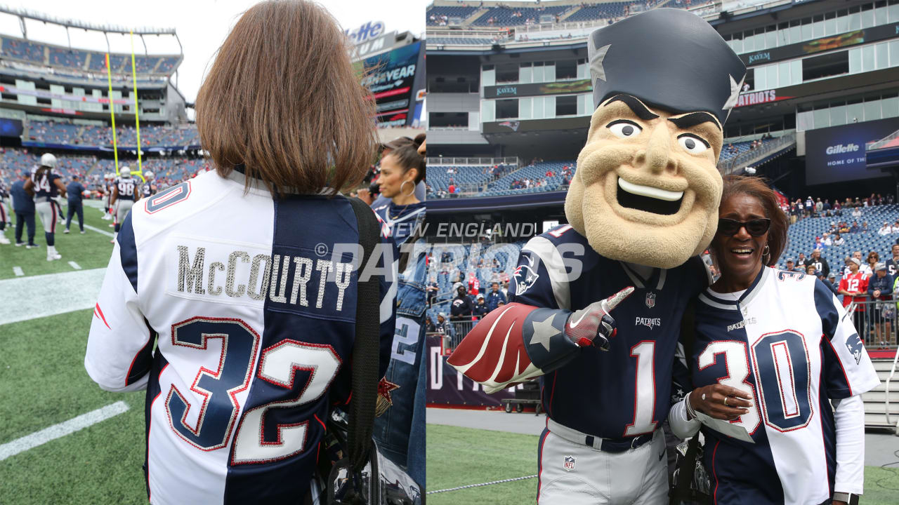 pretty nice df436 1f287 Mama McCourty debuts Patriots split jersey on Sunday