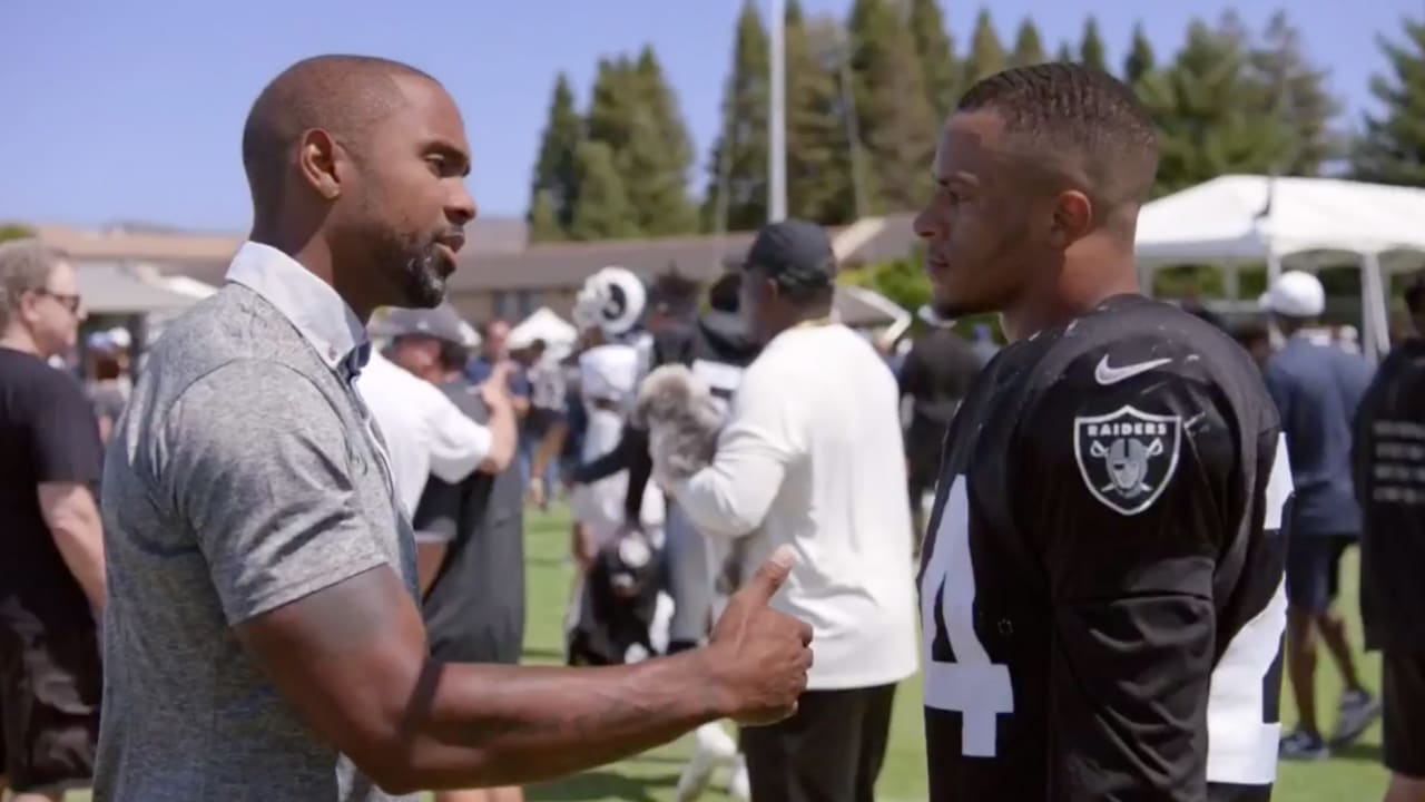 e56a6055 Hard Knocks: Charles Woodson shares words of wisdom with Johnathan Abram