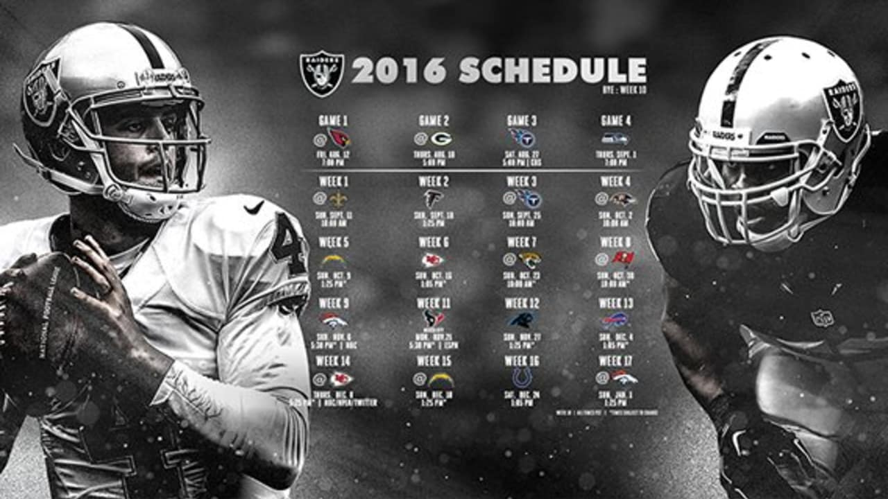 Raiders 2016 Schedule