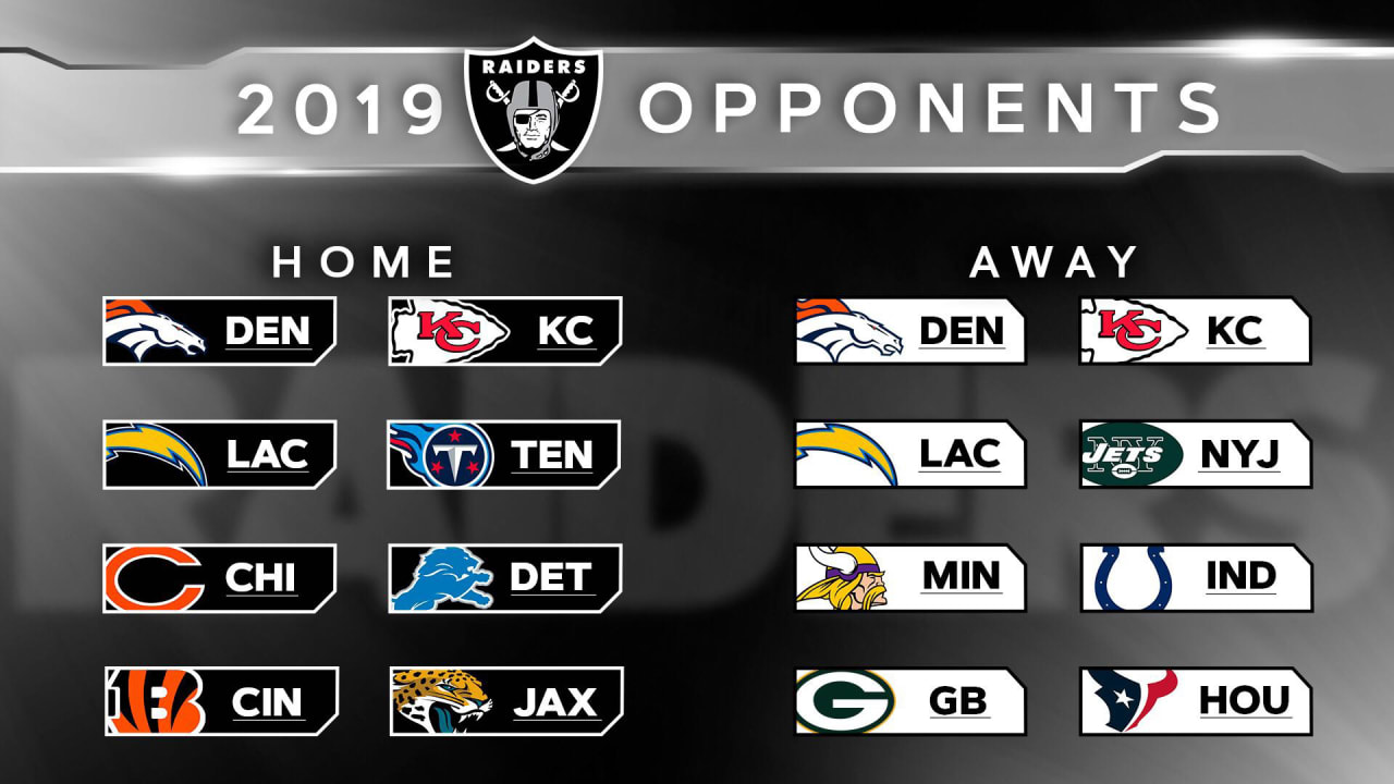 Raiders Schedule 2020.A Look At The Oakland Raiders List Of 2019 Opponents