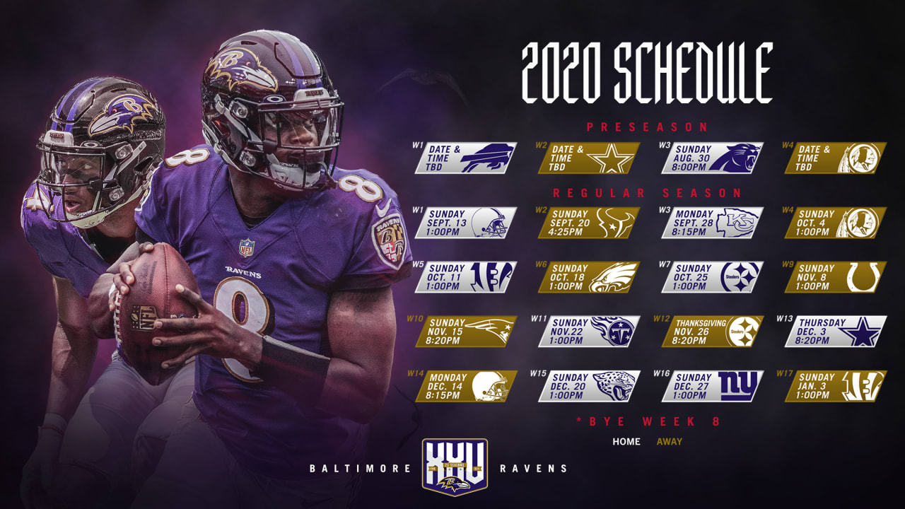 Notes On The Ravens 2020 Schedule
