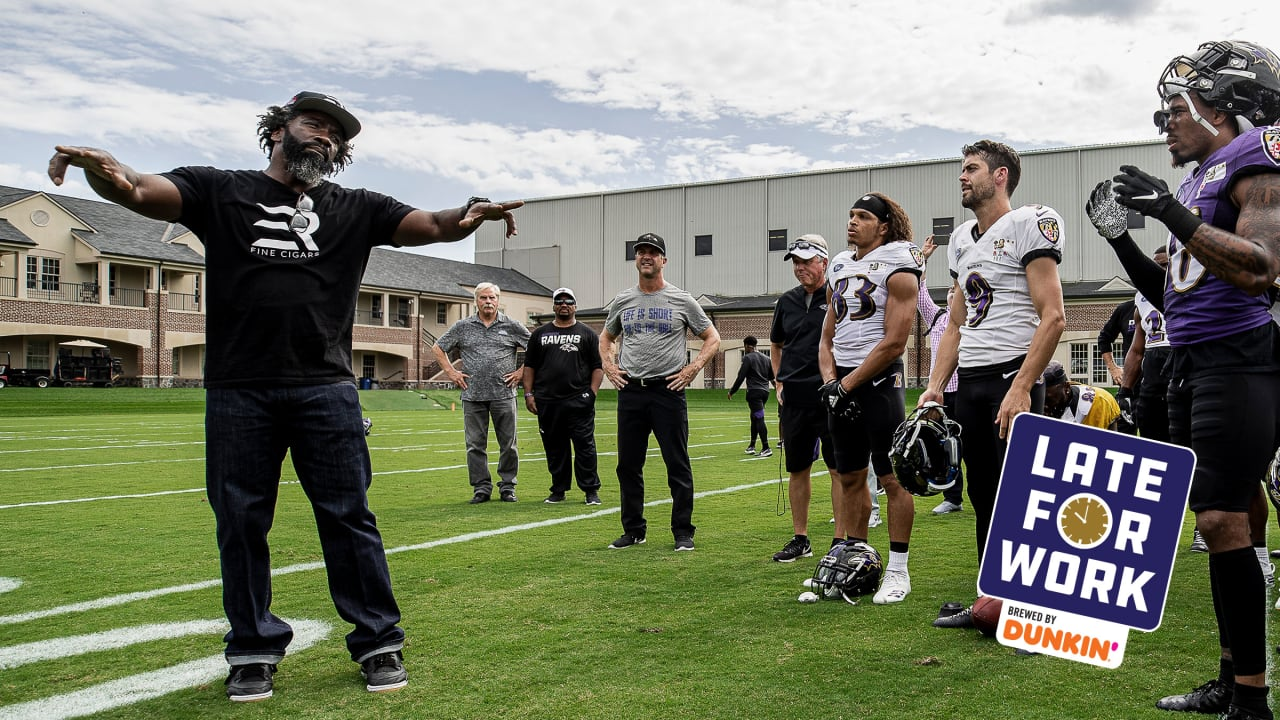 Ed Reed spoke briefly with John Harbaugh about returning as a coach