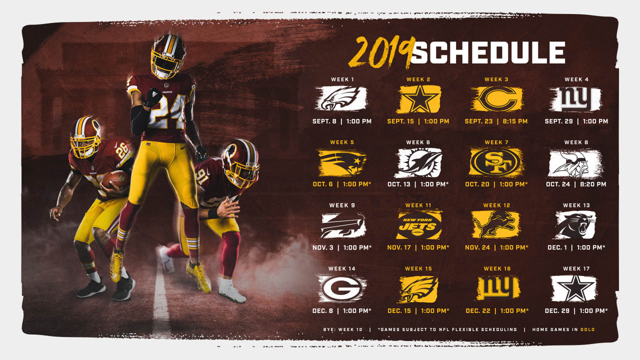 photograph about Nfl Week 7 Printable Schedules titled Washington Redskins Launch 2019 Program
