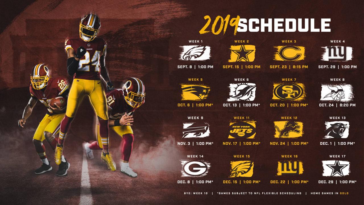 Nfl Schedule 2020 Week 1.Washington Redskins Release 2019 Schedule